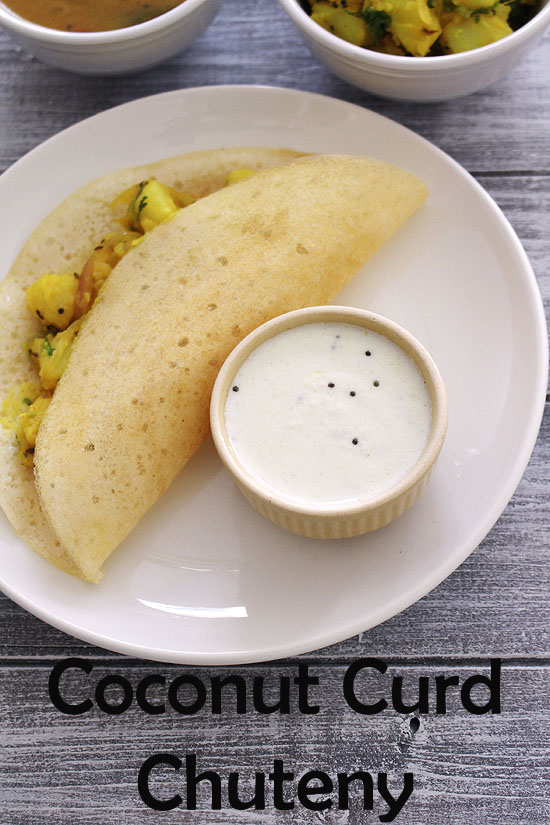 Coconut curd chutney recipe (How to make coconut chutney with curd)