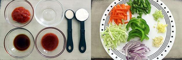 ingredients prep for veg american chopsuey
