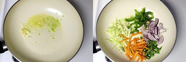 saute ginger garlic and add veggies
