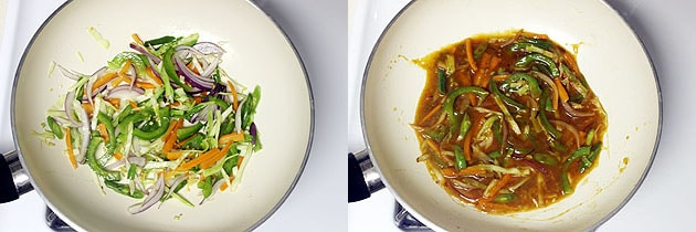 adding sauce to cooked veggies