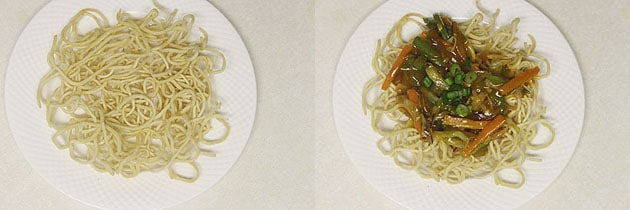 fried noodles in a plate topped with veggie sauce mixture.