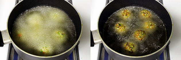 frying balls into hot oil
