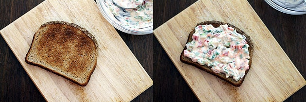 cream cheese sandwich mixture on a toast