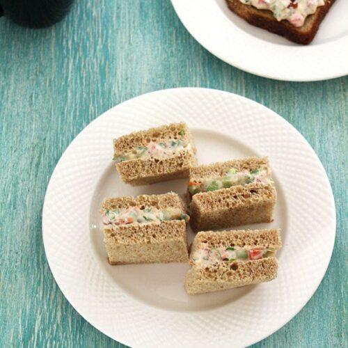 Veg Cream Cheese Sandwich Recipe (How to make Cream Cheese Sandwich Recipe)