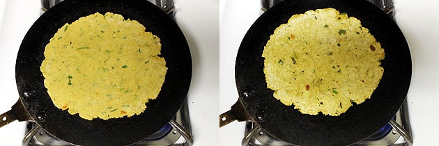 shallow frying paratha