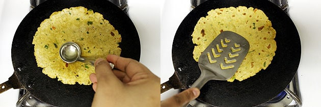 applying oil and cooking paratha