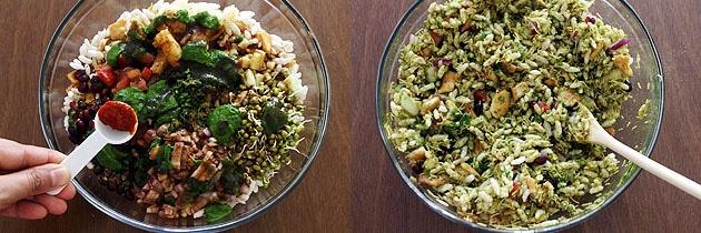 adding garlic chutney and mixing bhel puri