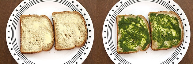 spread butter and chutney on bread slices