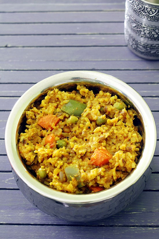 Vegetable Khichdi Recipe (How to make Mixed Vegetable Masala Khichdi)