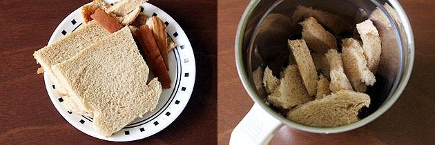 making fresh breadcrumbs for kulfi