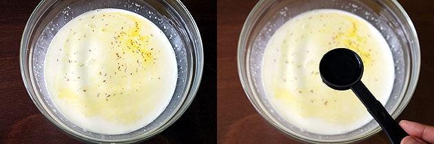 add saffron and rose water to kulfi mixture