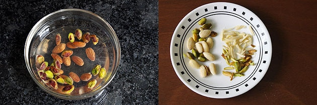 Blanched and slilced almonds, pistachios