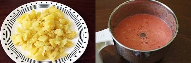 Preparing boiled potatoes and tomato puree for bedmi aloo recipe