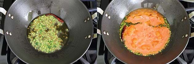 sauteing green chili and tomato for bedmi aloo recipe