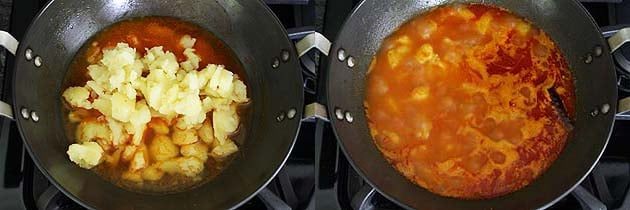 adding potatoes and simmering the gravy for bedmi aloo