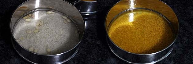 Washed dal and rice in separate containers