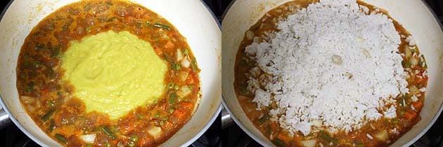 add cooked dal and rice to veggie mixture
