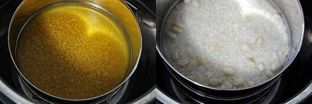 Stack dal and rice container in instant pot