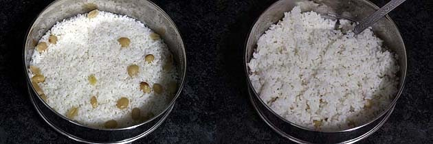 Rice is cooked and roughly mixed