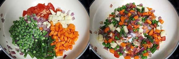 adding vegetables.