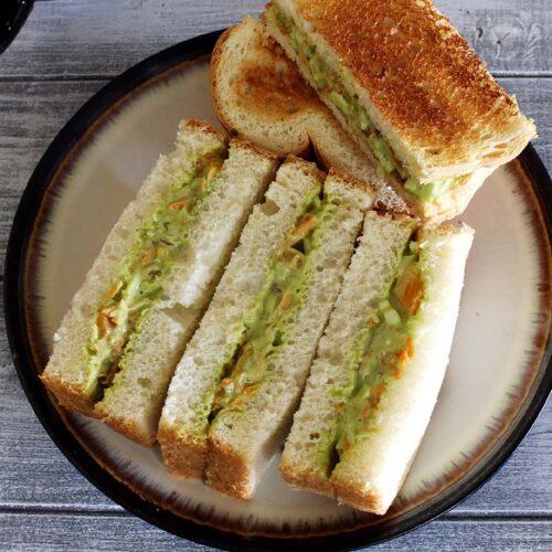 Veg Mayonnaise Sandwich Recipe (How to make Mayo Sandwich Recipe)