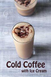 Cold Coffee with Ice Cream (Coffee Milkshake Recipe), Cafe style