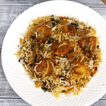 Baby Potato Biryani Recipe (How to make Dum Aloo Biryani)