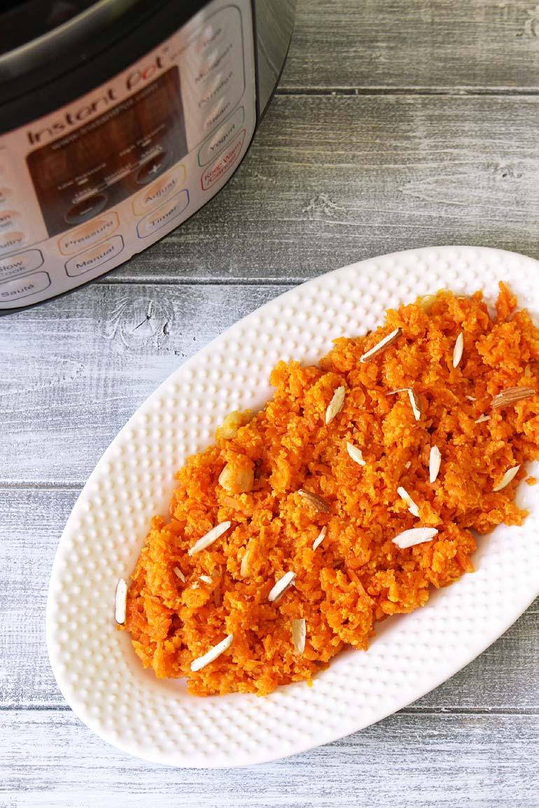 Instant Pot Carrot Halwa Recipe (with condensed milk)