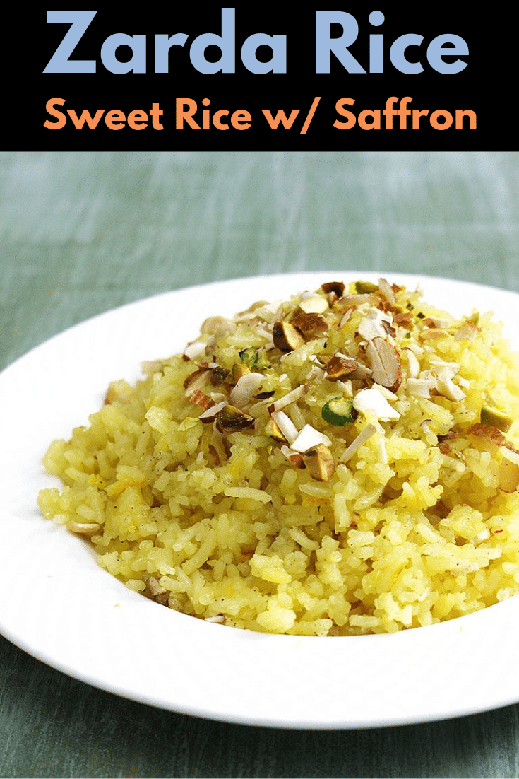 Try this simple and easy to make meethe chawal aka zarda rice or zarda pulao. This zarda recipe is one of the popular Indian desserts that is made on special occasions, festivals or auspicious days. It has saffron flavor and also saffron gives the yellow color hence it is also called yellow sweet rice. #indianfood #dessert #sweets #rice