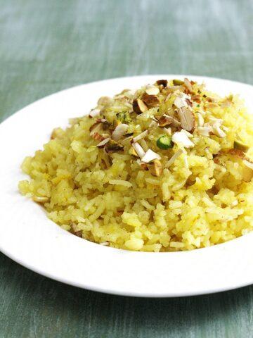 Meethe Chawal Recipe (Zarda Rice or Pulao) Yellow Sweet Rice