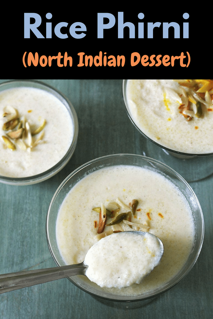 This rice phirni is the traditional Indian dessert and made during festivals like Diwali, Raksha bandhan, karwa chauth. This creamy, rich, super yum and easy to make phirni is nothing but ground rice sweet pudding garnished with almonds, pistachios, rose petals and saffron. #phirni #indiandesserts #pudding #diwali #desserts