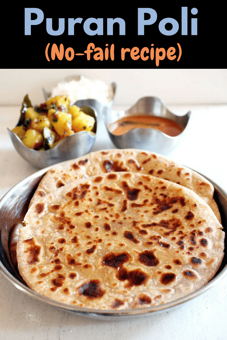 I am sharing the step by step photos for making this maharashtrian puran poli recipe. Learn how to make puran poli recipe at home with this no-fail recipe. This is sweet indian flat bread where stuffing is made from lentils and jaggery. #indianrecipe #sweet #maharashtrian #thali