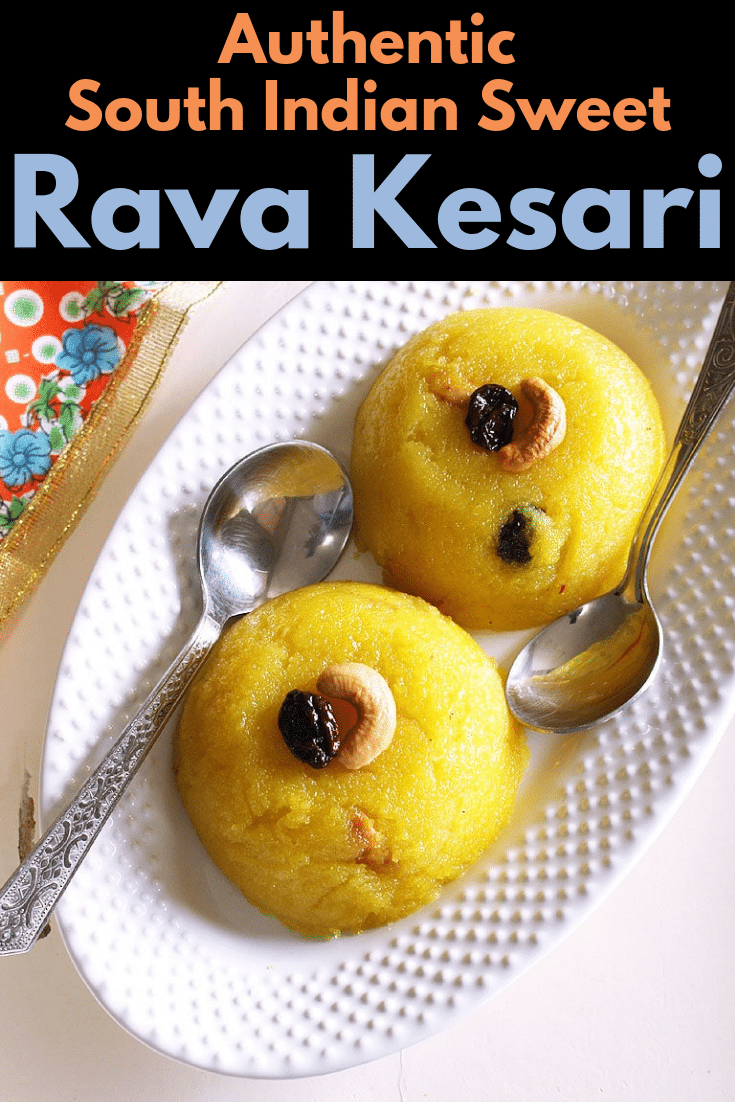 rava kesari is one of the popular authentic south indian sweets. This is like sweet semolina pudding. This name rava kesari is in Tamil and Telugu language. It is known as kesari bath in Karnataka. Here I have used only water, but you can make it with milk too. Learn how to make rava kesari with step by step photos. #indiandessert #sweet #dessert #pudding