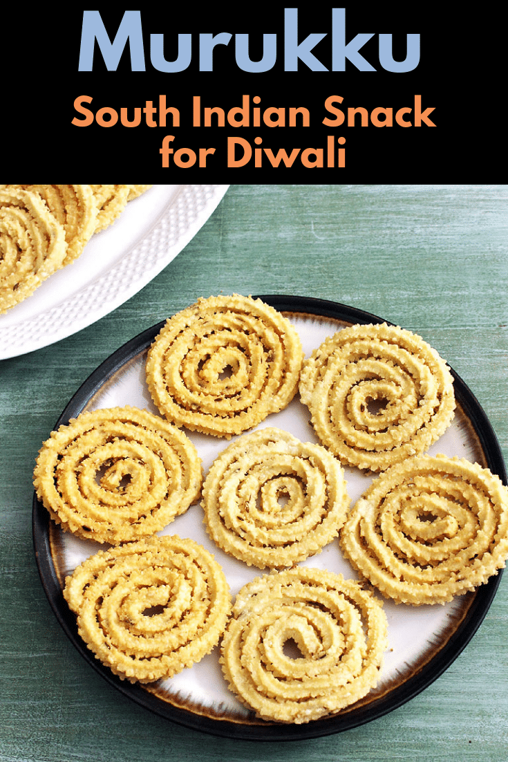 make this rice murukku recipe for this diwali festival. These murukku are made with rice flour and urad dal flour. It is enjoyed as a snack with tea or coffee. Learn how to make murukku or murukulu with step by step photos. #diwalirecipe #snack #southindian #vegetarian #riceflour