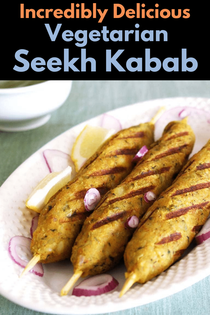 enjoy this veg seekh kabab with mint chutney as a appetizer or snack. This veggie kabab are grilled on the grill pan. You can bake in the oven to. These are made with potatoes, few other veggies and indian spices. This easy to make vegetarian kabab are perfect for parties #vegetarian #kabab #indianfood #appetizer
