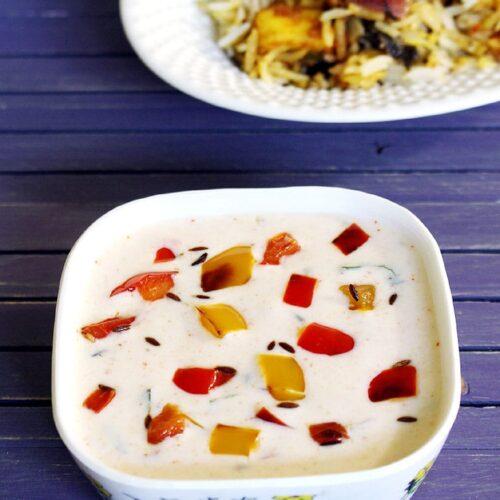 Capsicum Raita Recipe for Biryani (how to make Shimla Mirch Raita)