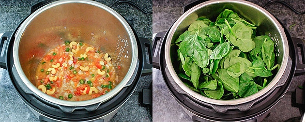Adding water and spinach in instant pot