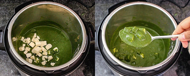 paneer is added and mix, instant pot palak paneer is ready to serve