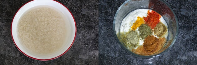 Soaked rice and marinade prep for paneer biryani