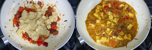 adding and simmering marinated paneer for paneer biryani recipe