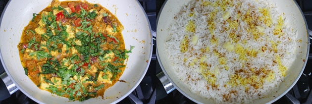 making the layers of gravy and rice for paneer dum biryani