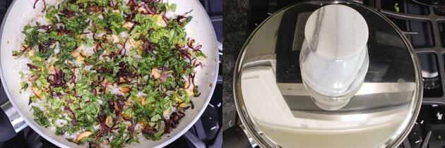adding garnishes to the layers and dum cooking paneer biryani