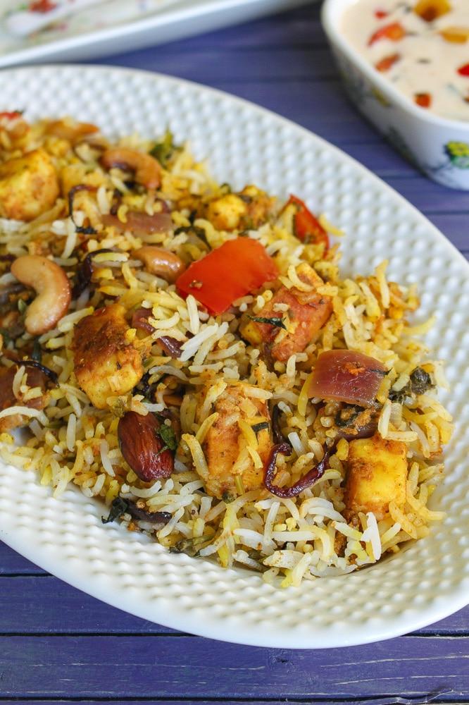 Paneer Biryani Recipe (Hyderabadi Paneer Dum Biryani)