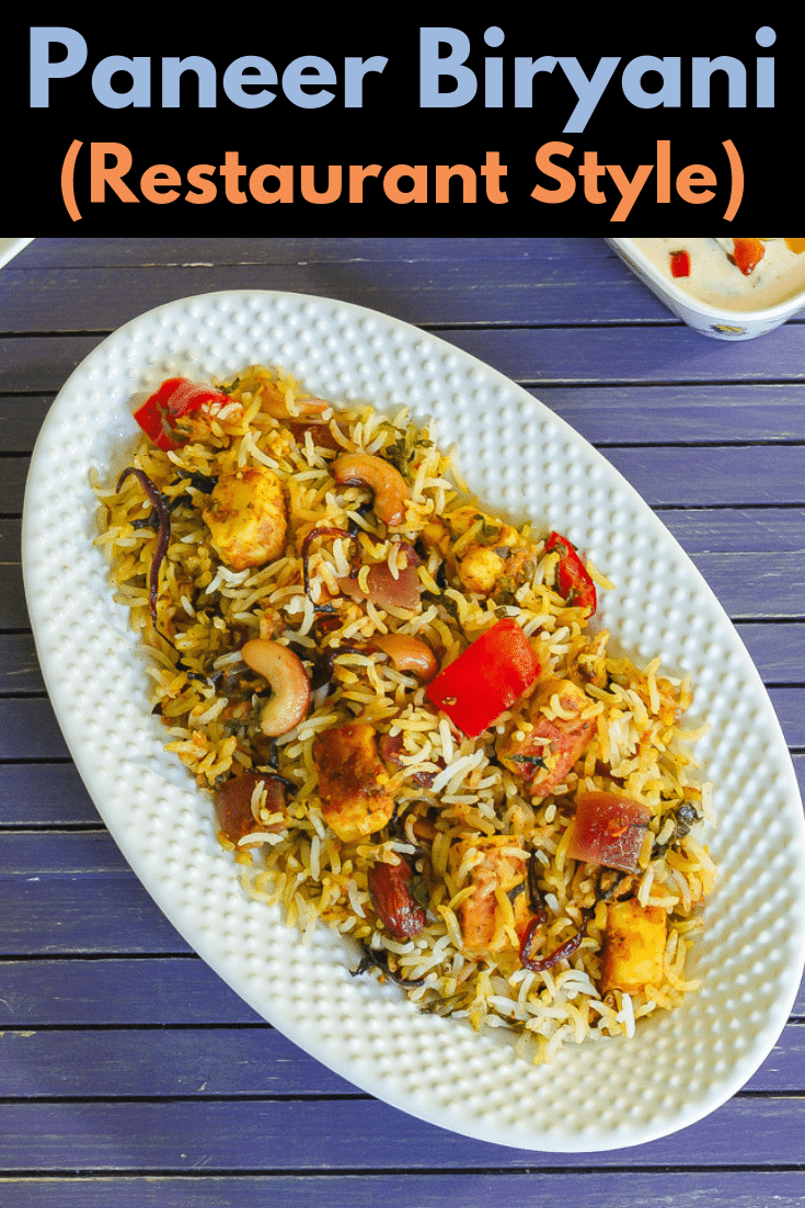 pinterest image for Paneer Biryani Recipe