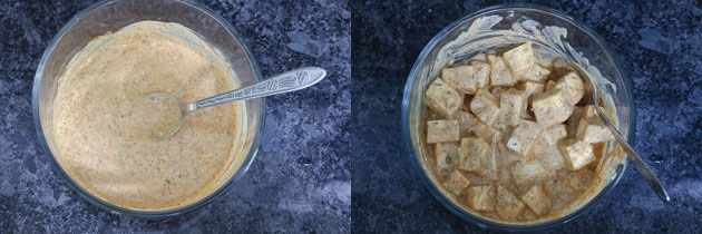 Marinating paneer cubes for paneer biryani recipe