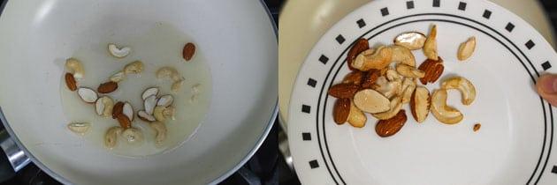 fried cashew nuts and almonds for paneer biryani layers