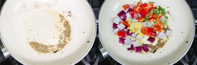 sizzling cumin seeds and cooking onion, bell pepper for paneer biryani gravy