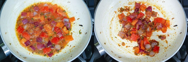 adding and cooking tomato puree for paneer gravy
