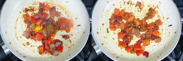 spices added to the paneer gravy base for biryani