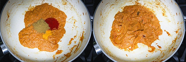 adding spice powder and mixing for paneer kofta curry